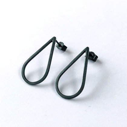 Oxidised Teardrop Stud Earrings