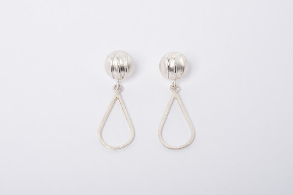 Silver Contrast Teardrop Earrings