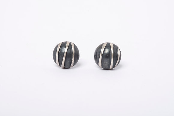 Domed Oxidised Silver Contrast Stud Earring