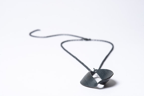 Large Silver Oxidised Twist Pendant
