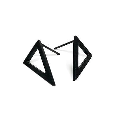 Oxidised Small Triangle Earrings