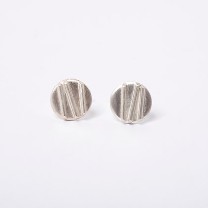 Silver Contrast Stud Earrings