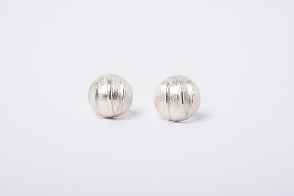 Domed Silver Contrast Stud Earrings