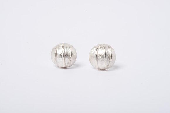 Domed Silver Contrast Stud Earrings