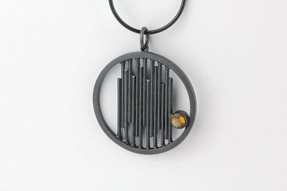 Oxidised Silver Citrine Pendant
