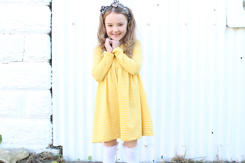Clover Dress - Sunshine Stripe