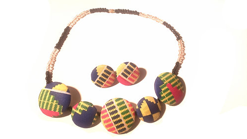 Ankara Buttoned Necklace Set 5