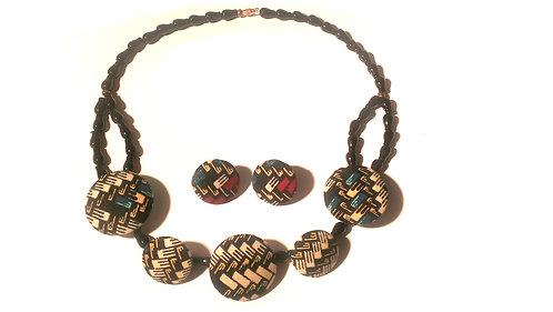 Ankara Buttoned Necklace Set 4