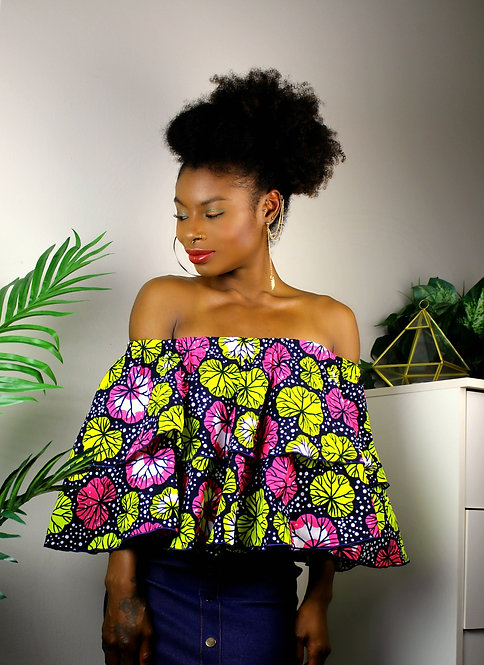 Off-Shoulder Ankara Top #1