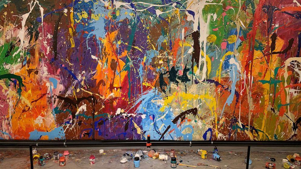 The work was done in 2016 by American graffiti artist JonOne.