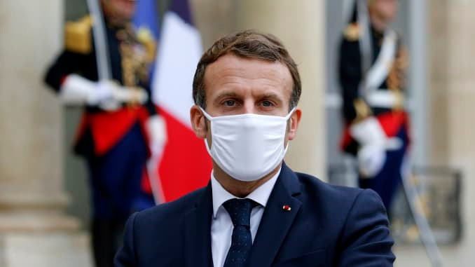 French president Macron, tests positive for Covid19.