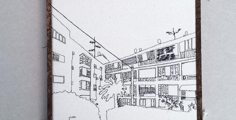 sewn sketch 22/22cm- jaffa balconies.