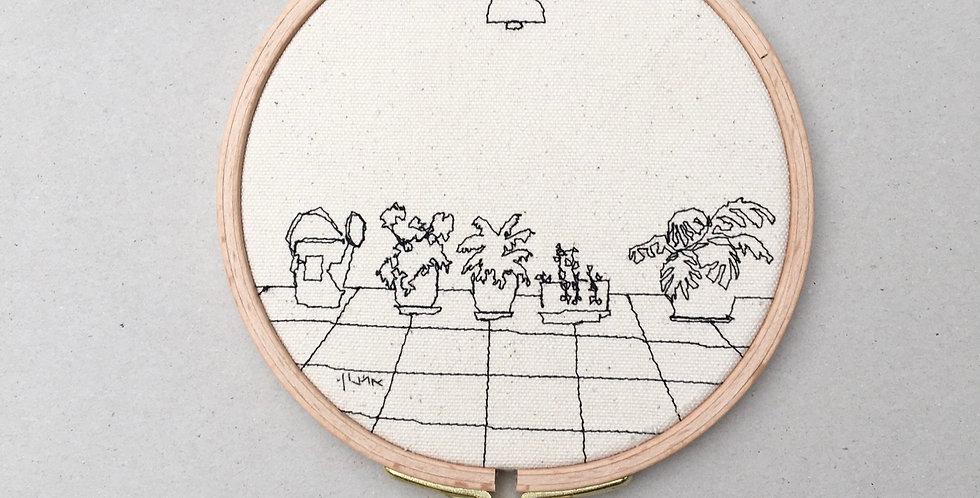 Sewn sketch - hoop14cm , plants