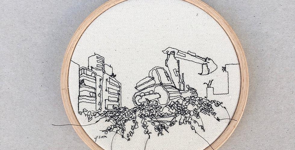 Sewn sketch 14cm hoop- excavator