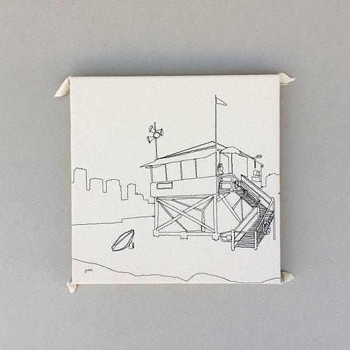 sewn sketch 30/30cm - lifeguard hut