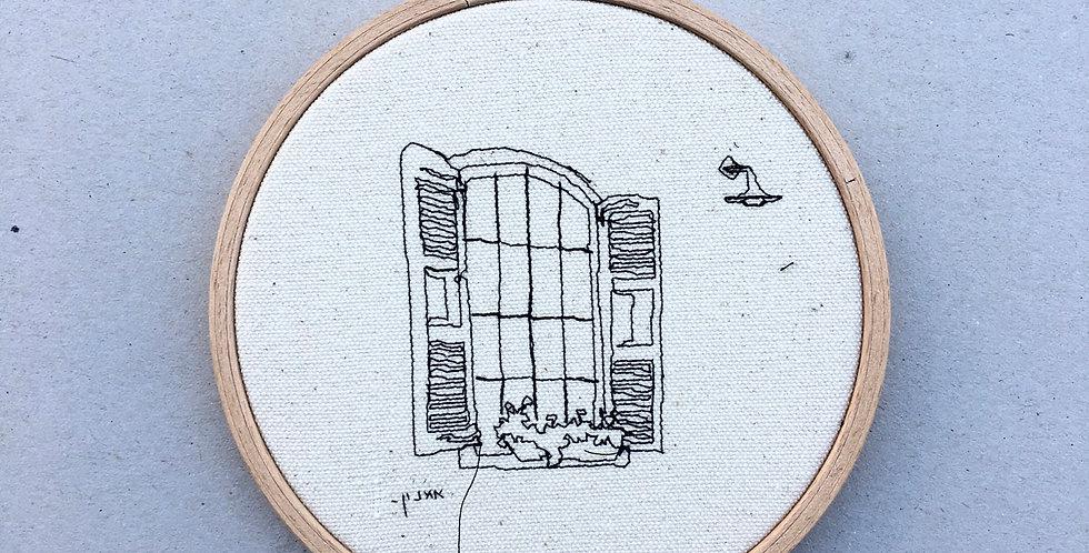 sewn sketch hoop14cm - vintage window
