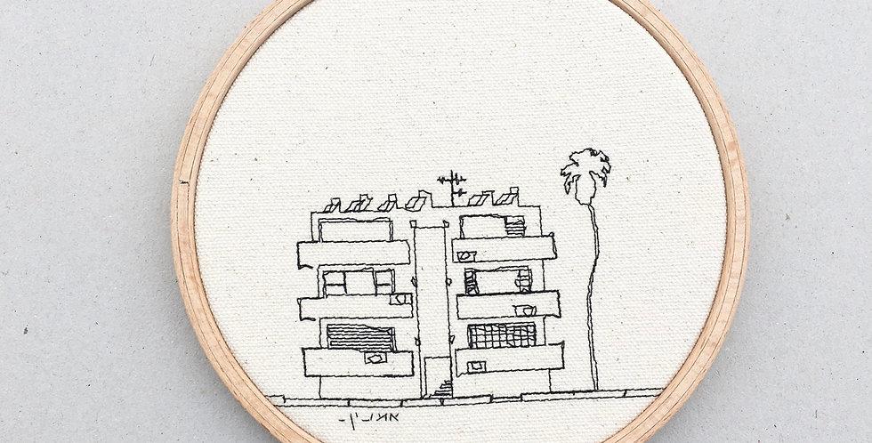 Sewn sketch hoop14cm - Bauhaus and a palm tree