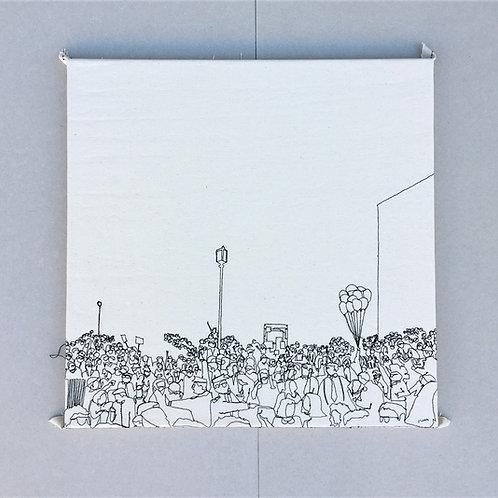 sewn sketch 50/50cm - crowed