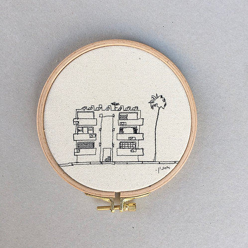 Sewn sketch hoop14cm - Bauhaus and a palm tree