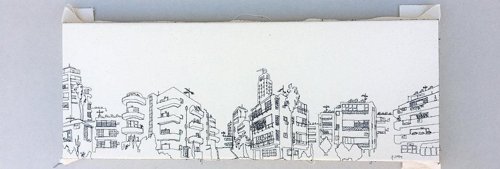 sewn sketch 63/19cm -tel aviv view