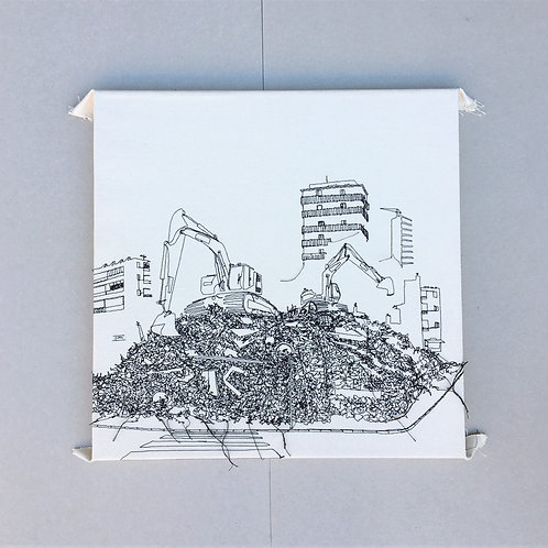 sewn sketch 50/50cm - exavator on pile of ruins