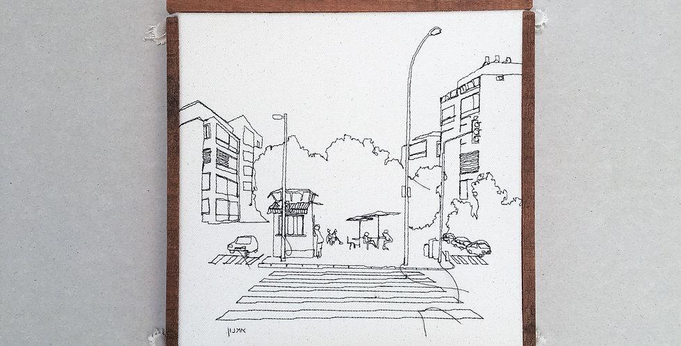 sewn sketch 22/22cm - ben yhuda by ben gurion