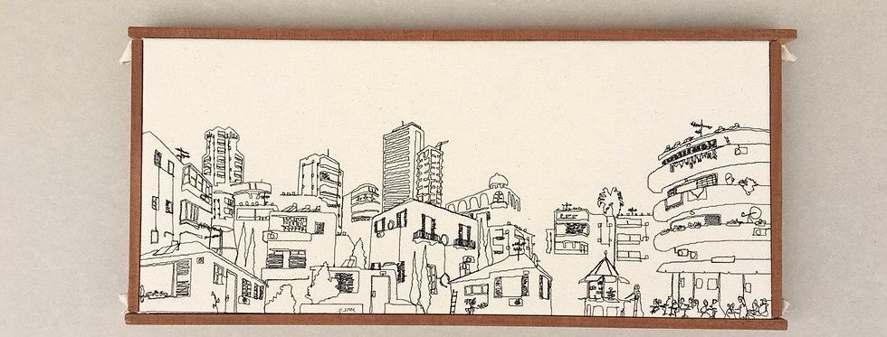 sewn sketch 50/22cm - tel aviv view