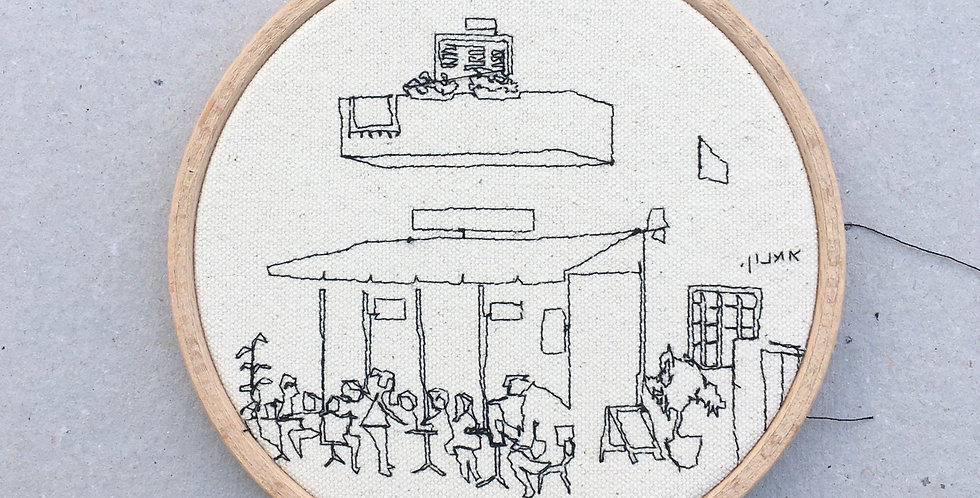 Sewn sketch hoop14cm - cafe & balcony