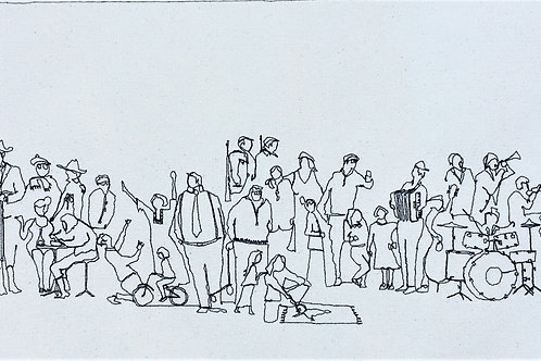 sewn sketch - random people - 72/27cm