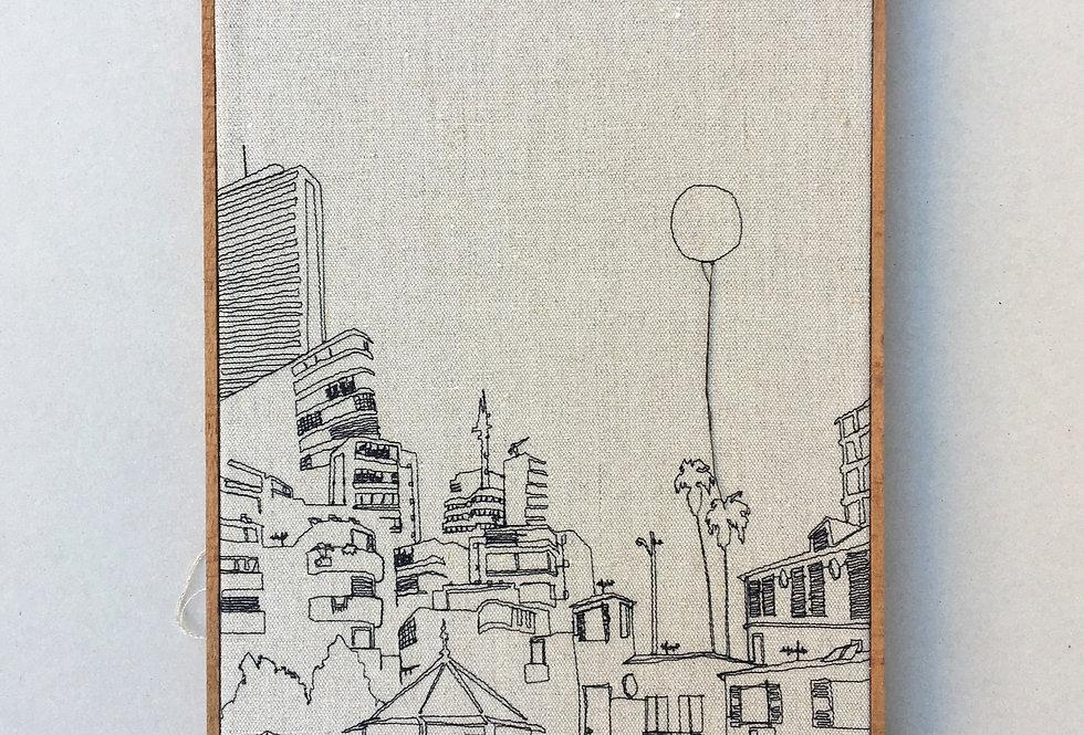 sewn sketch 48/34cm - tel aviv street, linnen.
