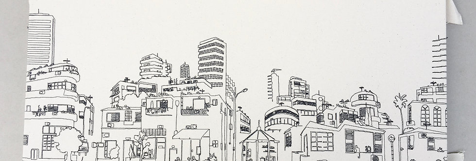 sewn sketch 80/35cm - tel aviv view