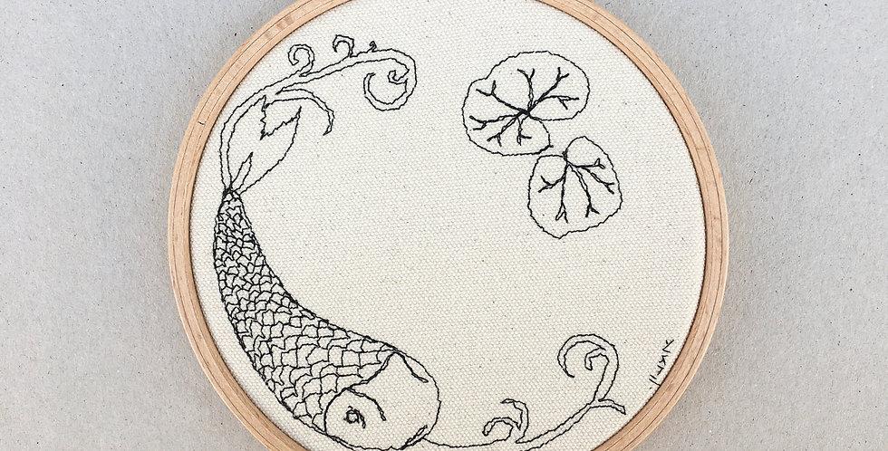 sewn sketch hooop14cm -fish , far east