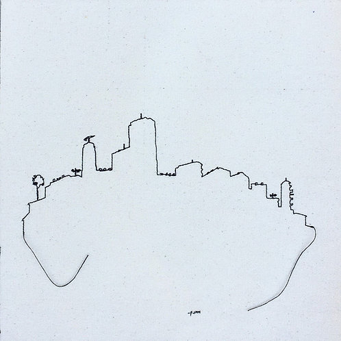 sewn sketch 30/30cm - city out line