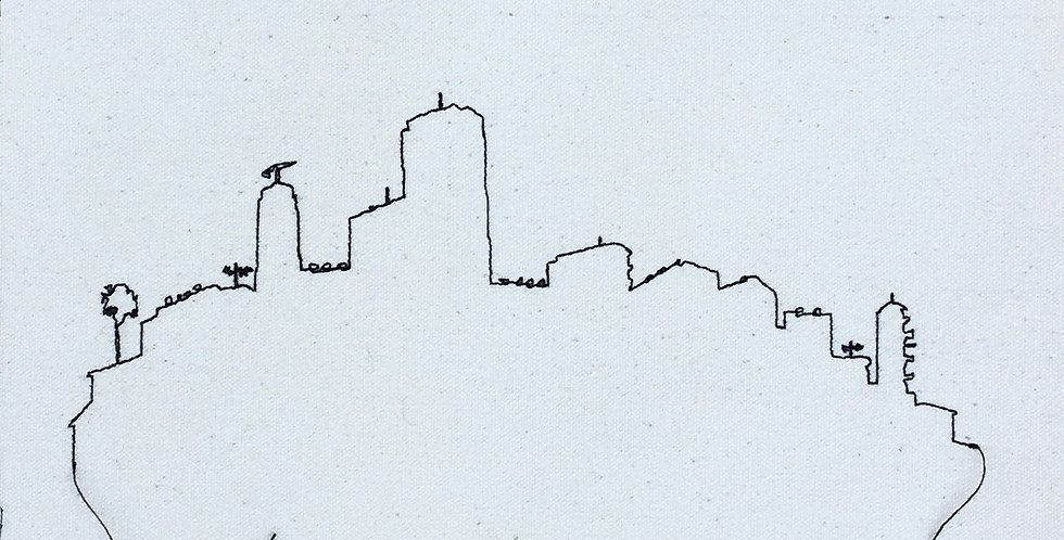 sewn sketch 30/30cm - city out line