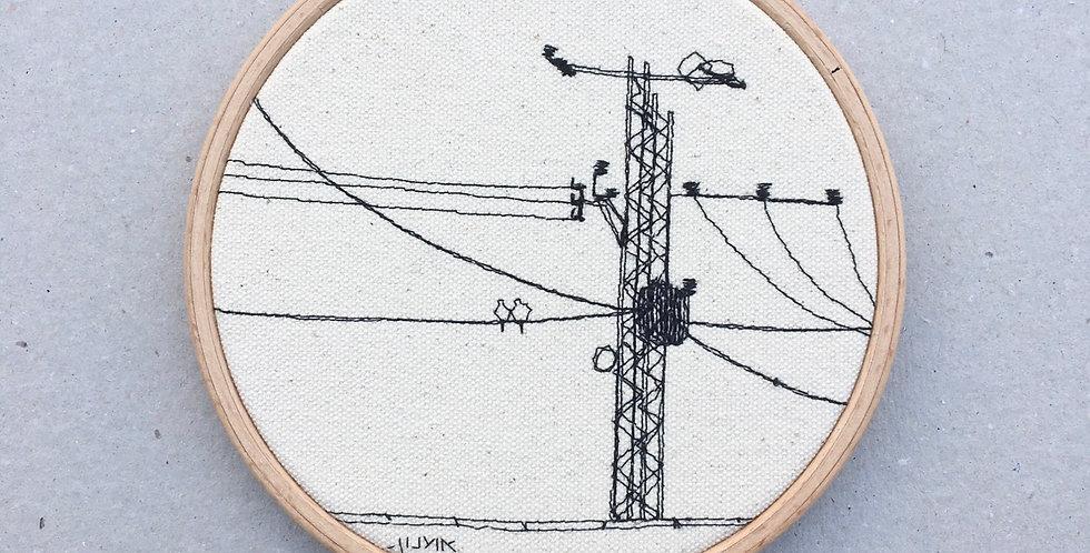 sewnsketch hoop14cm -utility pole. electricity.