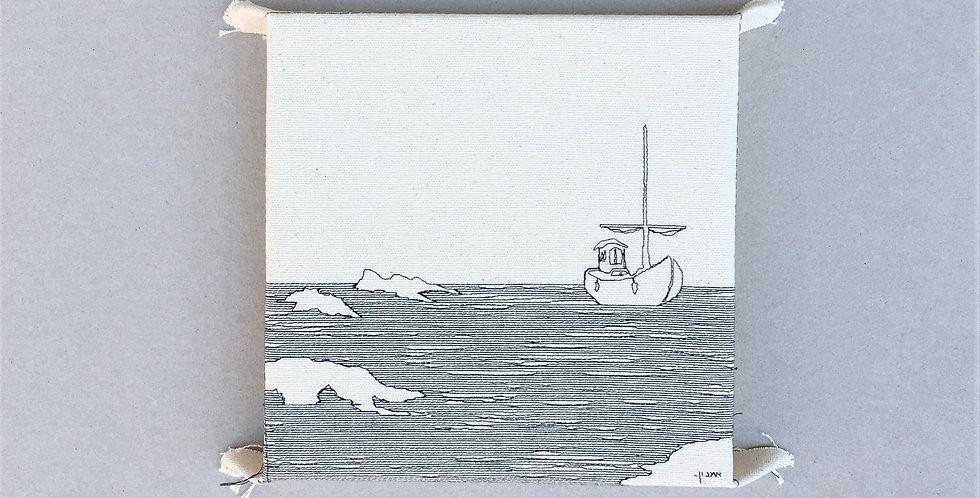 sewn sketch 21/21cm - boat