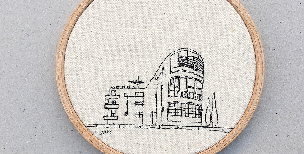 sewn sketch hoop14cm - round bauhaus building