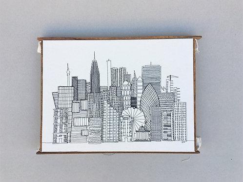 sewn sketch 51/39cm -skyscraper city