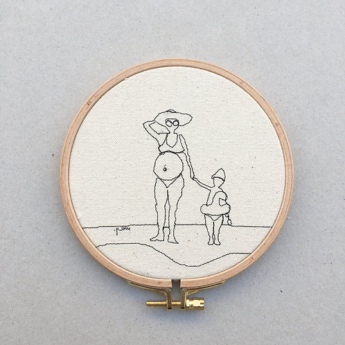 sewn sketch hoop14cm -pregnant lady and son on the beach