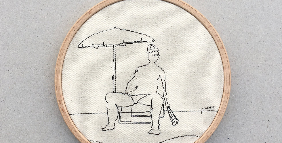 sewn sketch hoop14cm - retired to the beach