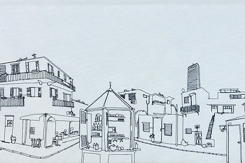 sewn sketch 120/40cm - tel aviv street