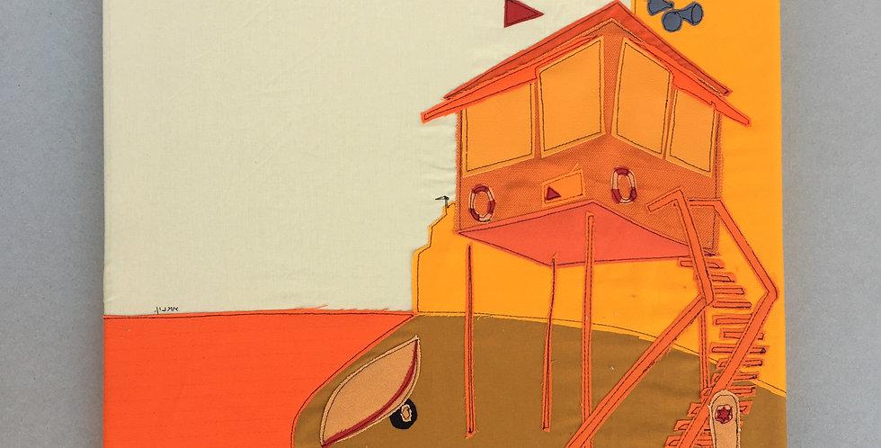 patchwork 50/50cm - orange, lifguard hut.