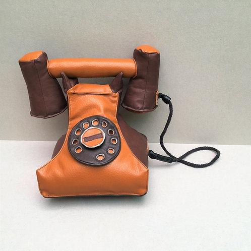 plush vintage telephone - synthetic leather