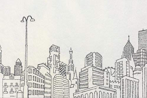 sewn sketch 115/57cm - the big city