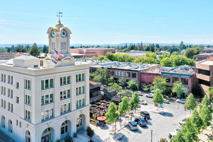 Hotel E Exterior View Side Aerial View.j