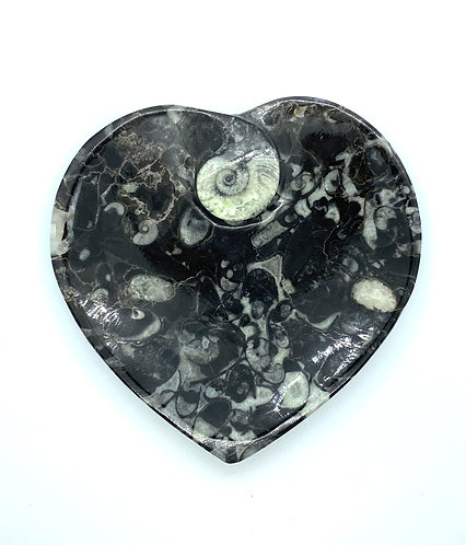 Marble Fossil Inlaid Heart Bowl