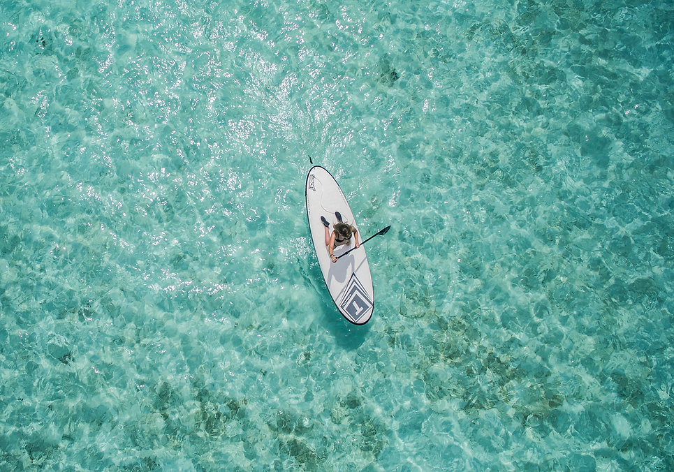 aerial of paddle board on the ocean for key west watersports store