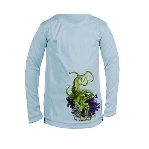 SeaFear Green Octo Long Sleeve Youth Performance Tee