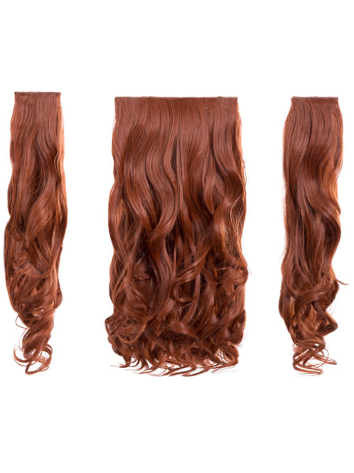 Copper Red Curly Clip In 3 Piece Hair Extensions