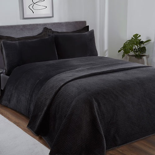 Velour Pinsonic Duvet Set Black Single